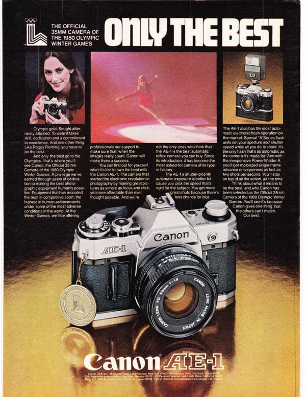 Canon AE1 Official 35mm camera 1980 olympic winter games